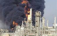 Oil storage facility burning in Iran