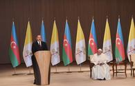 "President Ilham Aliyev and Pope Francis addressed representatives of general public at Heydar Aliyev Center <span class=""color_red"">[UPDATE]  [PHOTO]</span>"
