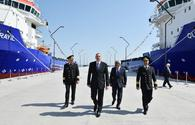 """President Aliyev attends ceremony to launch """"Jabrayil"""" , """"Gubadli"""" ships <span class=""""color_red"""">[PHOTO]</span>"""