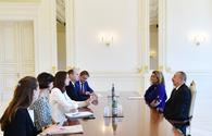 """President Ilham Aliyev receives delegation led by Austrian minister <span class=""""color_red"""">[PHOTO]</span>"""