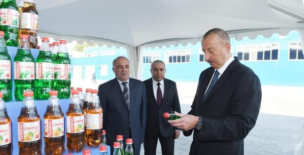 "President Ilham Aliyev attends opening of lemonade plant in Gadabay <span class=""color_red"">[PHOTO]</span>"