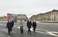 "President Aliyev, his spouse review work done in Baku White City <span class=""color_red"">[UPDATE]</span>"