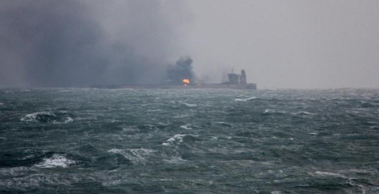Iranian oil tanker burns for third day after collision off China coast