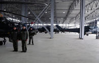 """Azerbaijan's defense minister visits new helicopter military unit in frontline zone <span class=""""color_red"""">[VIDEO]</span>"""