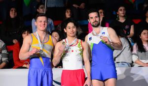 """Baku hosts awarding ceremony of winners of first day of FIG Artistic Gymnastics World Cup <span class=""""color_red"""">[PHOTO]</span>"""