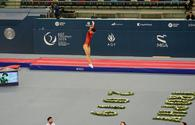 Chinese athlete grabs gold in individual trampoline program in World Cup in Baku