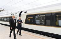 "President Ilham Aliyev views passenger train to run on Baku-Tbilisi- Kars route <span class=""color_red"">[UPDATE]</span>"