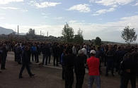 Armenian cement plant employees hold protest