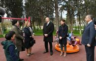 "President Ilham Aliyev, First Lady Mehriban Aliyeva view conditions created at newly-reconstructed Neftchilar park in Baku <span class=""color_red"">[UPDATE]</span>"