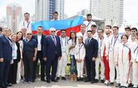 "Azerbaijani delegation meets with national athletes of 2nd European Games <span class=""color_red"">[PHOTO]</span>"
