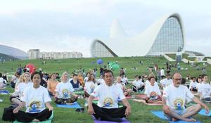 "Yoga session held in park of Heydar Aliyev Center <span class=""color_red"">[PHOTO]</span>"