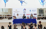 """Members of Azerbaijan's national rhythmic gymnastics team meet with young athletes <span class=""""color_red"""">[PHOTO]</span>"""
