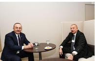 President Ilham Aliyev meets Turkish Foreign Minister in Davos
