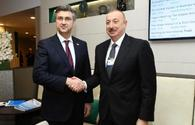 President Ilham Aliyev meets Croatian Prime Minister