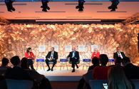 """Azerbaijani president attends panel discussion on """"Strategic Outlook: Eurasia"""" held as part of WEF <span class=""""color_red"""">[UPDATE]</span>"""