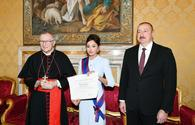 "First VP Mehriban Aliyeva awarded highest Papal Order of Knighthood in Vatican <span class=""color_red"">[PHOTO]</span>"