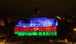 """Mercati di Traiano monumental complex of Ancient Rome lit with colors of Azerbaijani flag <span class=""""color_red"""">[PHOTO]</span>"""