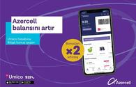 """Top up your balance and get double cashback to """"Umico"""" from Azercell!"""