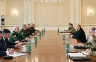 "President Ilham Aliyev received delegation led by Russian defense minister <span class=""color_red"">[PHOTO]</span>"