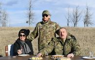 "We are having tea in pear-shaped glasses, baklava on Jidir Duzu. Let our friends rejoice, enemies get blind! - President Aliyev <span class=""color_red"">(PHOTO/VIDEO)</span>"