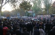 Armenian opposition rallying in front of parliament building