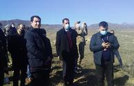 """Azerbaijani diplomatic corps' representatives visit destroyed areas in Jabrayil city <span class=""""color_red"""">[PHOTO]</span>"""