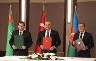 "Turkish, Azerbaijani and Turkmen FMs adopt joint statement following trilateral meeting <span class=""color_red"">[PHOTO]</span>"