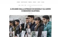 Perpetrators of Khojaly tragedy must be punished - Italian journalist