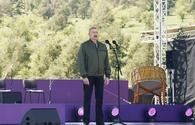 """Azerbaijani president, First lady attend opening of Khari Bulbul festival in Shusha <span class=""""color_red"""">[PHOTO/VIDEO]</span>"""