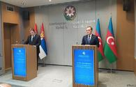 """FMs of Azerbaijan, Serbia hold press conference <span class=""""color_red"""">[PHOTO/VIDEO]</span>"""