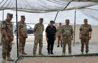 """Defence chief inspects Azerbaijani-Turkish-Pakistani drills site <span class=""""color_red"""">[PHOTO]</span>"""