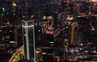 """National flag of Azerbaijan illuminated on highest tower of Indonesia <span class=""""color_red"""">[VIDEO]</span>"""
